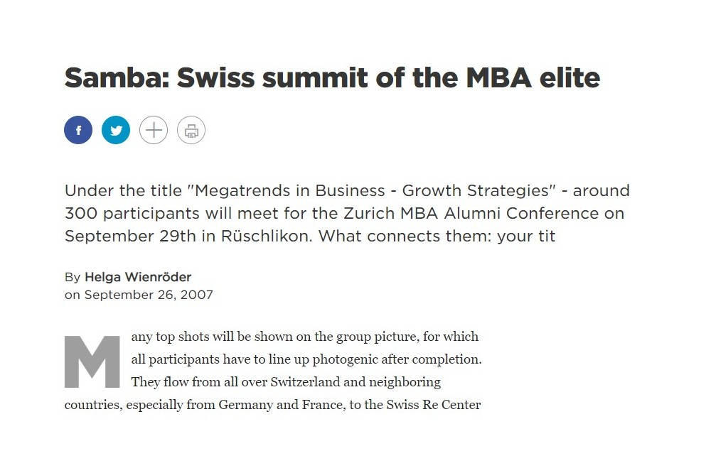 Samba: Swiss summit of the MBA elite